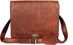 """18"""" Vintage Men Leather Satchel Shoulder Laptop Bag Messenger Carry On Briefcase"""