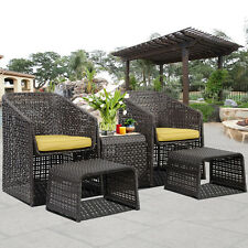 SALE 5 Piece Rattan Furniture Set With Footstools Suit Garden Conservatory