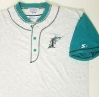Vtg Starter Florida Marlins Mens Size Large 3-Button Baseball Shirt Embroidered
