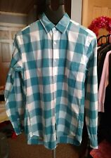 J Crew Mens Button Down LongSleeve teal Blue & White Checked shirt  Size Small