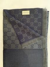 Gucci GG Men's Wool Scarf - Navy Blue / Olive Green