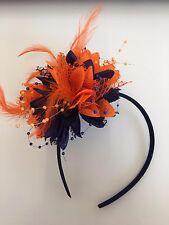 Navy Blue and Orange Feathers Fascinators On Headband