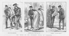 GIBRALTAR Survivors of the Shipwrecked Steam Ship Utopia - Antique Print 1891