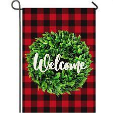 Mogarden Welcome Garden Flag, 12.5 x 18 Inch Buffalo Check Plaid, Yard Flag
