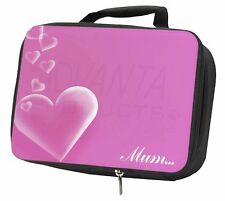 Pink Hearts Sentiment for 'Mum' Black Insulated School Lunch Box Bag, MUM-H3LBB