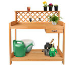 Garden Potting Bench Table Wood Cabinet Work Open Shelf Outdoor Patio Furniture
