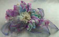 Purple Floral Ribbon Corsage Dress Brooch Pin Accessory Grad Bridal Prom