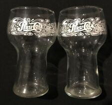 Vintage 1970's Pepsi Cola Pedestal Glasses - White Script Writing - Set of 2
