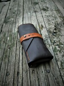 Watch Roll 3 Slots Leather Travel Organize Pouch Rollup Handmade