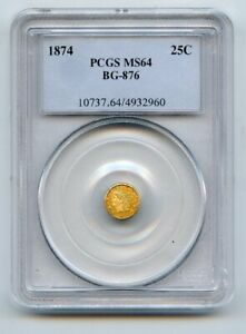 1874 G25c Indian Head Gold Coin PCGS MS64