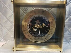 Vintage Seiko Quartz World Time Mantel Clock. Brass Japan