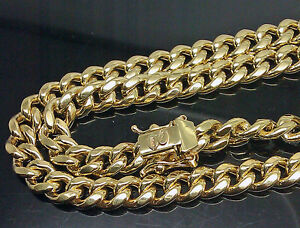 "Real 10k Yellow Gold Mens Miami Cuban Link Chain Box Lock 22"" inch 8mm Necklace"