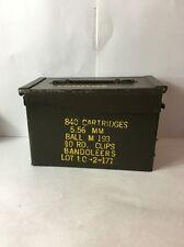 VINTAGE U.S. ARMY AMMO BOX!!! 840 ROUNDS 5.56 MM BANDOLEERS