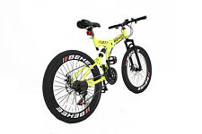 "men yellow 26"" Folding Mountain Bike 21 Speed Bicycle Double Disc Brake Shimano"