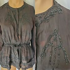 Antique Vintage 1910's 1920's Black Sheer Faded Beaded Blouse Top As Is