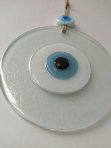 White Evil Eye 12cm Fused Glass Bead Pendant Charm Turkish Decor Amulet Talisman