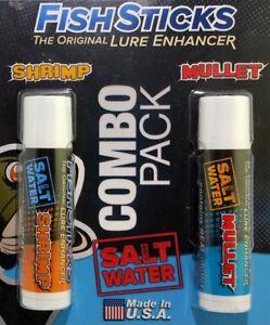 FishSticks Scents Saltwater Fishing Lure Enhancer Shrimp Mullet Bulk Combo Pack
