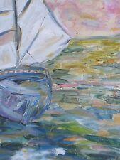 """Peinture Tableau huile sur toile """" Marine bateau voilier """"Picard 41cm/33cm"""