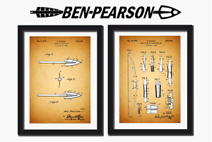 Ben Pearson Archery Patent prints, Skeleton Broadhead and Bow.