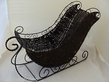 "DARK BROWN WICKER DECORATIVE SLEIGH-CHRISTMAS/HOLIDAY-17"" X 13"" X 6""-WIRE FRAME"