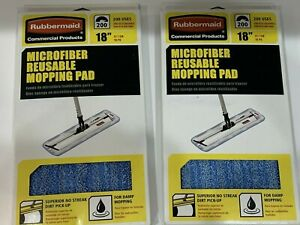 "Rubbermaid Commercial Reusable Microfiber Mop/Broom Pad 18"" Damp /Dry, Lot of 2"