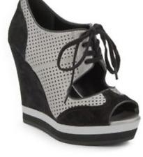 LUXURE REBEL LR-DEXTER Leather Suede Peeptoe Sneakers Wedges Size 36