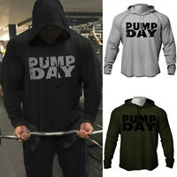 Men GYM Fitness Train Pump Day Bodybuilding Workout Raglan Hoodies Sweatshirts