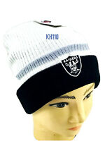 Oakland Raiders NFL Basic Cuffed Winter Knit Beanie-White Color