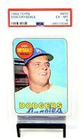 1969 Topps HOF LA Dodgers DON DRYSDALE Vintage Baseball Card PSA 6 EX-MINT