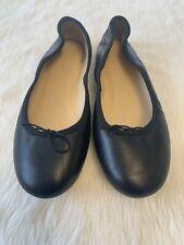 J Crew Black Leather Evie Ballet Flats Shoes Size 6