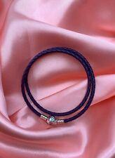 Genuine Sterling Silver PANDORA Purple Double Wrap LEATHER BRACELET 38CM + pouch