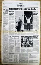 Best 1989 display newspaper NICK FALDO wins his 1st MASTERS GOLF CHAMPIONSHIP