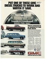 1982 Print Ad GMC Diesel Trucks Van Jimmy Suburban Vintage Advertisement 80's