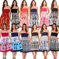 Womens/Ladies Summer/Beach Cotton 2 in 1 Strapless Dress/Maxi Skirt Size 8-22