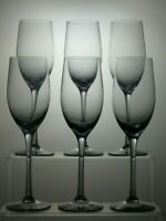 """LIGHT BLUE/GRAY CRYSTAL 7 Oz CHAMPAGNE FLUTES SET OF 6 - 9 1/4"""" TALL"""