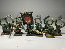 Warhammer Orcs and Goblins - Orc Boys Warriors Regiment x 11 With Standard
