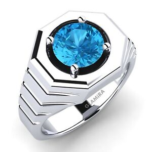 Natural Blue Topaz Gemstone With 925 Sterling Silver Ring For Men # 925