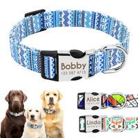 Nylon Personlized Dog Collar Engraved Fashion Adjustable Small Large Pitbull Pug
