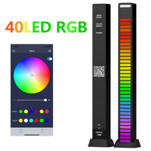 40LED RGB Sound Activated Rhythm Bar Music Car Light Party Strip Type-C Charging