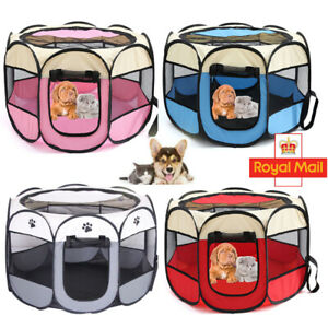 Large Foldable Pet Exercise Kennel Soft Fabric Dog Run Puppy Cat Playpen Cage UK