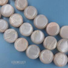 "10"" Genuine Peach Grey Moonstone Flat Round Coin Beads 12mm Silver Flash #19483"