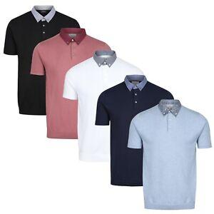 NEXT™ Mens Knitted Polo Shirt New Short Sleeve Contrast Button Collar Jumper Top