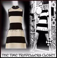 BIBA BEIGE BLACK STRIPED SWINGING 60s EMBELLISHED HIGH NECK SHIFT DRESS UK 12