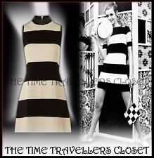 BIBA BEIGE BLACK STRIPED SWINGING 60s EMBELLISHED HIGH NECK SHIFT DRESS UK 14