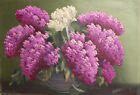 Antique European oil painting still life with lilacs