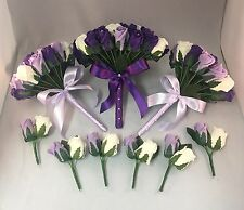 WEDDING PACKAGE ARTIFICIAL FLOWERS LILAC IVORY PURPLE FOAM ROSE BOUQUETS BRIDE