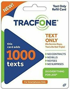 TracFone 1000 Text Refill Add On for Smart Phone. No minutes / data. Direct Load