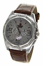 Hip Hop Iced Out Leather Band Watch Chrome Finish Bezel With Crystals By Geneva