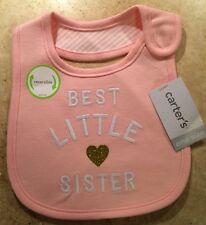 Best Little Sister CARTERS Teething Bib Girl Pink Gold Heart Baby NWT Velcro