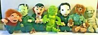 "Set 7 Universal Studios Monsters 1999 Plush Dracula Frankenstein Halloween 9"""